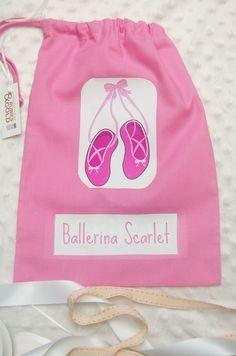Ballet Shoe Bag Personalized Drawstring By Rubiesandgoldgifts Mais