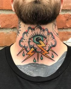 Sketches Rate This Eye Neck Tattoo 1 to 100 Tatto Old, Old Tattoos, Body Art Tattoos, Tatoos, Traditional Tattoo Neck, Traditional Ink, Neon Tattoo, Rock Tattoo, Storm Tattoo