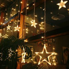 138Pcs LED Light String Star Curtain Light Home Decor Celebration Festival Wedding