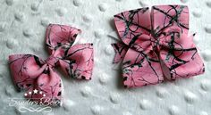 Pink real tree camo hair bow set https://www.facebook.com/media/set/?set=a.897934796912431.1073741887.664051576967422&type=3