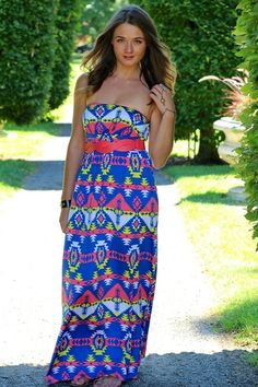 Blue Waters Arrowhead Aztec Maxi Dress