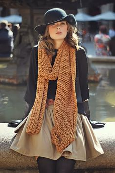Black and brown gorgeous combo with long scarf