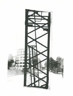collage art in mono-print: a building crane combined with suburb Bullewijk buildings, in Amsterdam, black-white, by Hilly van Eerten, 2012 Cleveland Police, Draw On Photos, Environmental Art, Unique Art, Collage Art, Printmaking, Netherlands, Illusions, Screen Printing