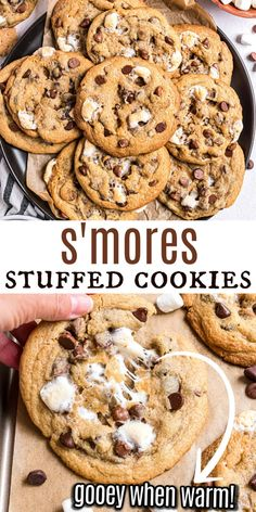 Bring the campfire dessert indoors with this S'mores Cookies recipe! Chocolate chip cookies are flecked with graham cracker crumbs and filled with a melty marshmallow center. Everything you love about S'mores--without the mess! Best Dessert Recipes, Sweets Recipes, Sweet Desserts, Holiday Desserts, Brownie Recipes, Baking Recipes, Cookie Recipes, Delicious Desserts, Smores Cookies