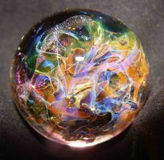 KC Boro Glass Marble Evil Dichro Claw Spin Chaotic Fumed Web 1 1 8"