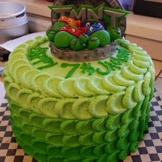 "10"" Teenage Mutant Ninja Turtle Cake w/ fondant TMNT topper. | Yelp"