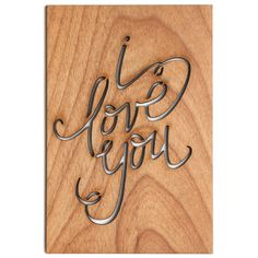 "I love you wood veneer postcard via PaperCrave 4""x 6"" (1/8"" thick) Engraved postcard detail on back Matching kraft envelope"