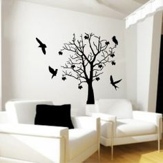 Duvar Sticker - Ağaç Ve Kuşlar