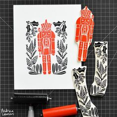 Early morning carving and printing this nutcracker with winter florals in red and black.  Holiday music on full in the background!