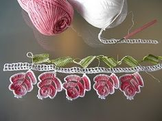 Crocheted Lace Edging of Roses