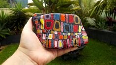 """""""Colour Patched"""" painted rock by The Stunner Boutique https://www.facebook.com/pages/The-Stunner-Boutique/456809484484281"""