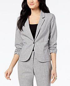 Bcx Juniors' Ruched-Sleeve Blazer - Gray S Vest Jacket, Blazer, Sleeves, Jackets, Shopping, Fashion, Vest Coat, Down Jackets, Moda
