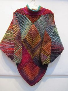 Love this, knit mitered squares into a poncho. Free pattern here…