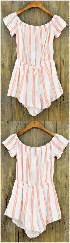 Women's Vintage Color Block Striped Off Shoulder Romper.Check more from www.oasap.com .