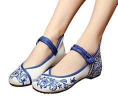 AvaCostume Chinese Traditional Paper Cut Art Embroidery Flats Mary Jane Shoes 40 * Want additional info? Click on the image.
