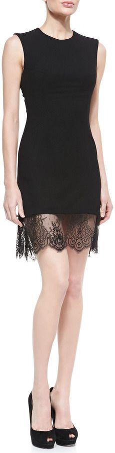 McQ Alexander McQueen Crepe Lace-Bottom Sleeveless Dress