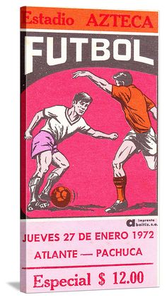 http://www.47straightposters.com/ Vintage Futbol ticket canvas art made from an authentic 1972 soccer ticket. Great game room or office gift idea. #47straight #futbol