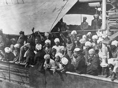 Indian immigrants on board the Komagata Maru in English Bay, Vancouver, B.C, 1914.