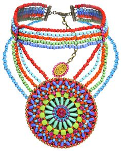 Halskette Collier Paisley African Multi