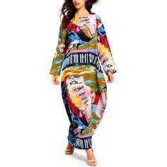 Robe longue imprimée décontractée Silhouette, Leggings, Casual, Kimono Top, Dresses With Sleeves, Long Sleeve, Style, Tops, Fashion