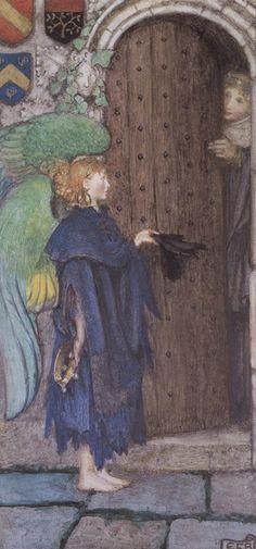 Eleanor Fortescue-Brickdale |Angel at the door. British, 1872-1945