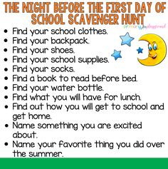 A fun scavenger hunt  for that exciting time, the night before the first day of school! #firstdayofschool #backtoschool #scavengerhunt #kindergarten #preschool