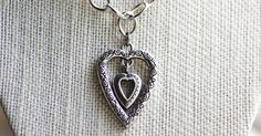 Vintage Brighton Style Heart Pendant on New Shiny Silver Link Chain, Scroll Double Heart Pendant Necklace, Vintage Chic Jewelry, Heart Charm by ShelLeighDesigns on Etsy