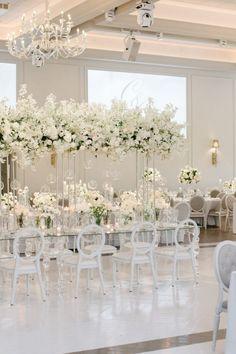 Indoor Wedding Receptions, Modern Wedding Venue, Luxury Wedding Decor, Wedding Chairs, Contemporary Wedding Decor, Elegant Wedding Themes, Wedding Ideas, All White Wedding, White Wedding Flowers