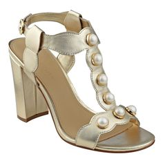 7314a696652416 Imitation pearls line the scalloped t-strap of these block heel sandals  with polished buckle