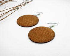 Wood Earrings Wooden Earrings, Wooden Jewelry, Earrings Handmade, Chandelier Earrings, Drop Earrings, Handmade Chandelier, Circle Shape, Silver Plate, Dangles