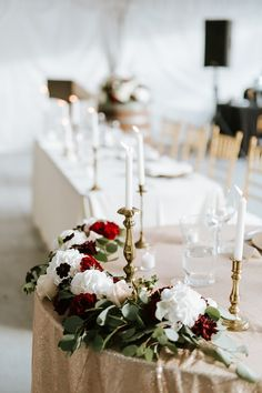 Our Wedding – Kristen Williams - Romantic Sweet heart head table for tented wedding with matte gold sequin linen and floral garland and tapered brass/gold candles - head table decor - gold, blush, white and burgundy wedding color scheme