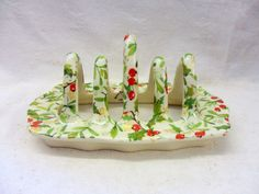 Mistletoe design toast rack by Heron Cross Pottery