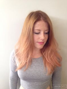 women redhead ginger dip dye ombre hairstyle