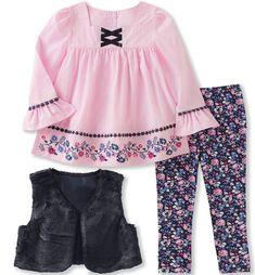 Kids Headquarters Faux-Fur Vest, Embroidered Tunic & Denim Leggings Set, Little Girls - Assorted 5 Toddler Vest, Toddler Girl Outfits, Baby Girl Dresses, Baby Dress, Kids Outfits, Toddler Girls, Infant Toddler, Baby Girl Leggings, Toddler Leggings