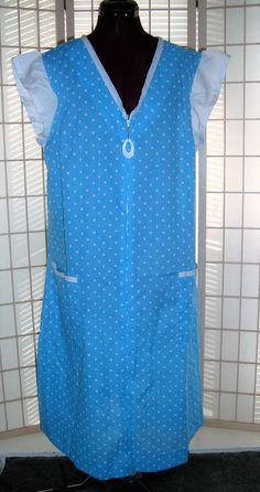 New Sz B0 L Blue & White  Polka Dot Duster House Dress W/ Cap Sleeves #Unbranded #Shift