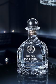 Gran Patrón Platinum is made from the finest Weber Blue Agave, is triple distilled and then rested in oak tanks for 30 days at Hacienda Patrón distillery in Jalisco, Mexico. It's presented in a hand-numbered crystal bottle and elegant case. Tequila Beer, Patron Tequila, Tequila Bottles, Tequila Drinks, Liquor Bottles, Vodka Bottle, Perfume Bottles, Cocktails, Jello Shot Recipes