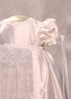 Silk and lace christening gown with Swarovski crystals: Eliza