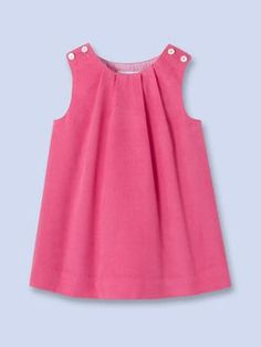Athena Pinafore/Sleeveless Dress by Jacadi at GiltRobe en velours rose - Fille - ROSE FUSCHIA - Jacadi Paris (this is 100 percent cotton.Jacadi Cotton velvet dress for baby,GirlTake a look at the timelessly elegant collections of baby, toddler and ki Frocks For Girls, Dresses Kids Girl, Little Dresses, Kids Outfits, Cute Dresses, Dress Designs For Girls, Baby Dress Design, Baby Girl Fashion, Kids Fashion