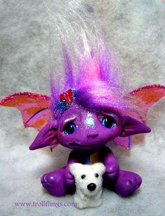 Dina the Dragon Trollfling Troll and her Polar bear http://trollflings.com