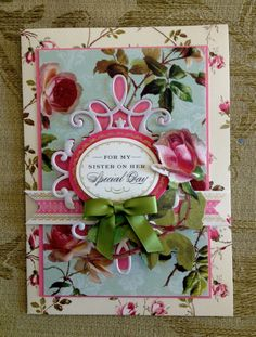 "Handmade Anna Griffin Vintage ""For My Sister on Her Special Day"" Greeting Card"