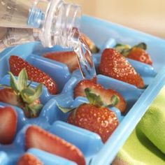 Great idea for a refresh Berry summer drink.  Float these ice cubes in a fruit-flavored punch.