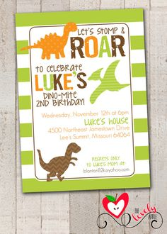 Dinosaur Birthday Invitation DIY Printable by thelovelyapple