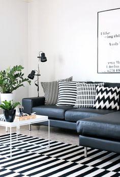 Tapetes com listras e geométricos a preto e branco ~ Decoração e Ideias - casa e jardim