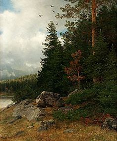 Home Living: Norwegian Artist Hans Gude, Landscape Art, Landscape Paintings, Clyde Aspevig, Cool Landscapes, Home And Living, Norway, Scenery, Country Roads, Nature