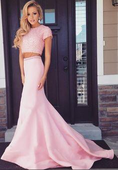 Pearl Beaded Short Sleeves Long Pink 2 Piece Prom Dresses Mermaid Prom  Dresses Two Pieces Prom Dress Graduation Dresses 33b0637d2f1d