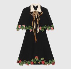 2017 Spring Summer Women Batwing Sleeve Black Cloak Dress Floral Embroidered Bow Dress Girls Slim Cape A-line Dress Gucci Fashion, High Fashion, Fashion Outfits, Womens Fashion, Haute Couture Style, Quirky Fashion, Korean Fashion, Classy Outfits, Designer Dresses