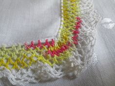 Hankie Hanky Handkerchief White Yellow Red by EauPleineVintage