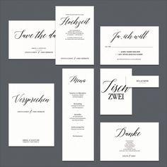 DIY-Hochzeitseinladung im Kallighraphie-Stil in Schwarz und Weiß – black and white calligraphy wedding invitation – www.karten-selberdrucken.de