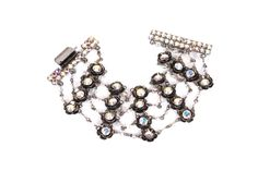 Vintage Bead & Crystal Four Row Bracelet