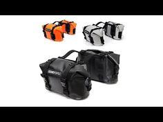 DrySpec Waterproof Motorcycle Drybag Saddle Bag System in Black Grey & Orange Motorcycle Luggage, Motorcycle Camping, Camping Gear, Scrambler Motorcycle, Honda Scrambler, Motorcycle Touring, Beach Camping, Gs 1200 Adventure, Triumph Street Twin